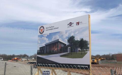 A rendering sign has been installed along 9th Street for members of the community to get a glimpse at their beautiful future Intermediate School.