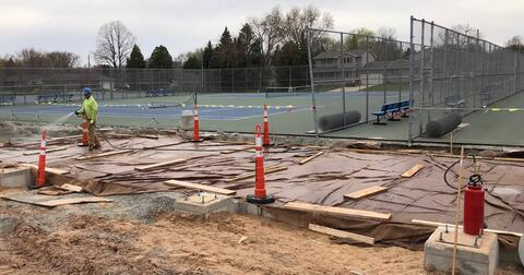 Over by the Stadium, the slab-on-grade was poured earlier in the week for the South Restroom Building. Masonry walls will start to go up soon.