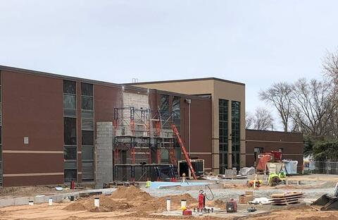 Concrete footings and wall pours are complete for the Classroom Addition. As you can see, masonry walls have also begun, and underground MEPs are wrapping up. Next week, Miron plans to pour the slab-on-grade so steel erection can begin.