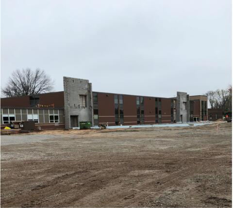Over by the classroom addition, masonry walls have been placed. Slab on grade pour and masonry work to follow in the coming weeks.