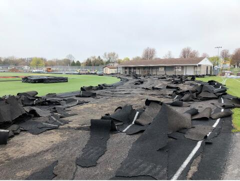 Crews began the removal of the track surface at the stadium.