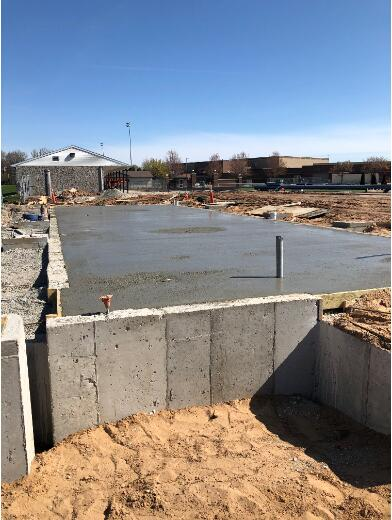 Over by the stadium, crews continue with concrete on the Restroom Buildings and Masonry has begun.