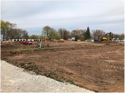 """Gauthier has cleared the site where the North Addition will be located. The City's site utility contractor also delivered the 60"""" pipe for the new storm line."""