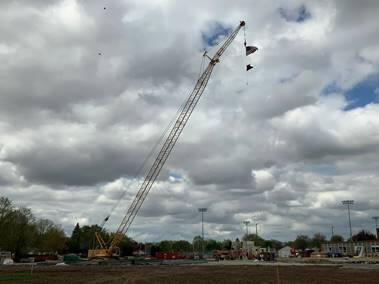 Crane is now on site and can be seen from the road.