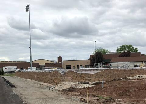 By the stadium, the retaining wall is complete and concrete will be poured next week.