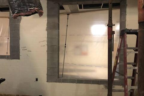 Windows were cut in for Unit F Reception/Office Area. Interior demo of the art room and other  Interior areas has also begun.