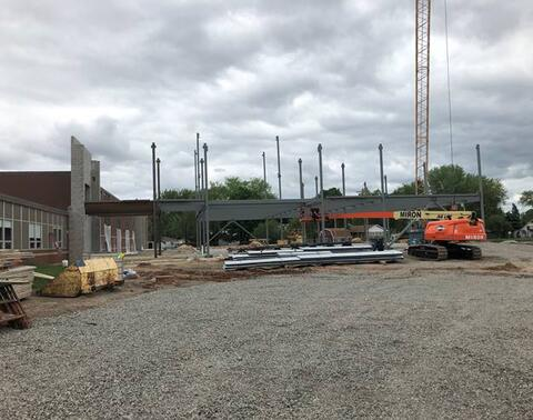 Steel is now being set for the classroom addition.
