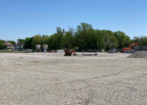 The East parking lot is being used as a construction laydown area as more materials are brought on site.