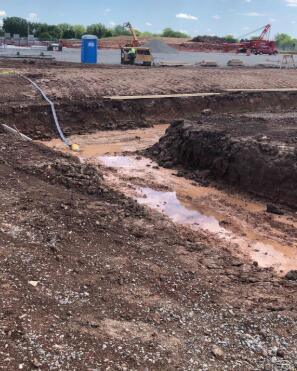 Excavations for the foundation of the gym are underway and concrete strip footings will begin soon.
