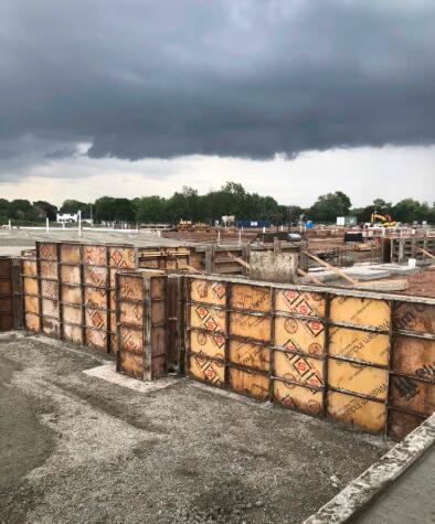 Foundation walls for Area B continue to be poured. These will soon move into Area C.