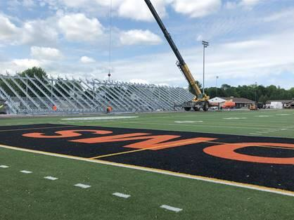 New bleachers on the west side of the stadium are beginning to be erected.