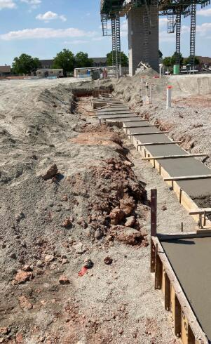 Footings for the masonry walls are being formed and poured, these footings will be the foundation for the music and band room.