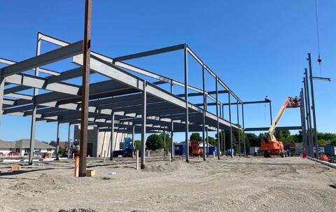 Structural steel has begun to swing into place as much of sequence one is underway.