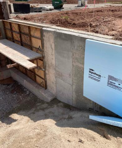 The foundation walls for area C continue to be poured and insulated.