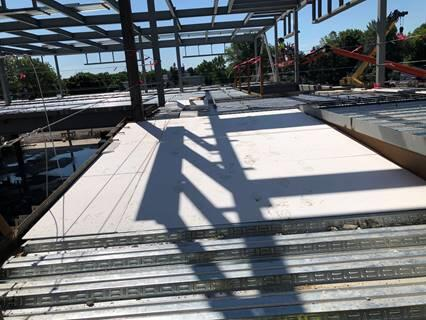 The geofoam gives the concrete the slope for the ramp without adding all the weight to the second floor.  Geofoam will be used on a larger scale when the auditorium is remodeled, and at the learning stairs at the Intermediate School.