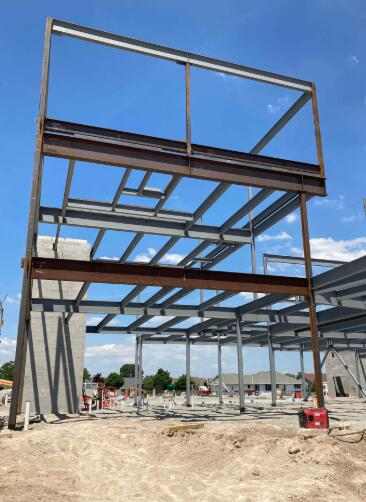 Steel erection has continued to progress and is now tied in to the elevator shaft.
