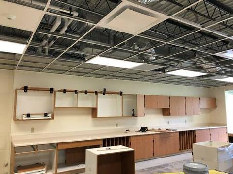 Casework is now being installed in the Art room. It won't be long before students will be able to use this space!