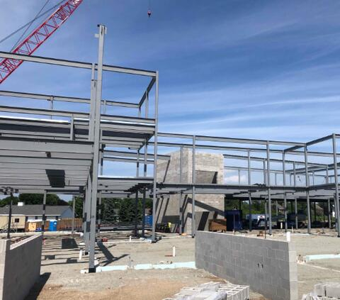 Sequence Two of structural steel is being erected as the skeleton on the building continues to progress.