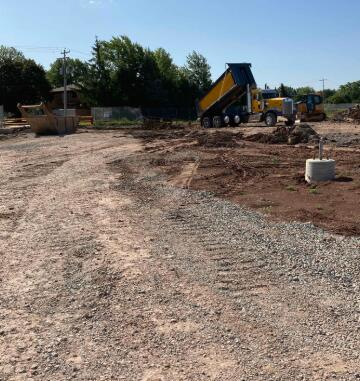The new sanitary line for the school has been connected to the existing sanitary line and is now being backfilled.