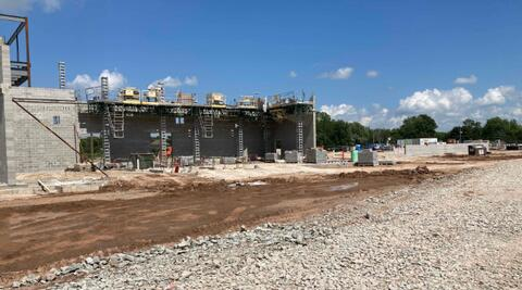 Masonry walls for the music wing have continued to progress and are now mostly complete.