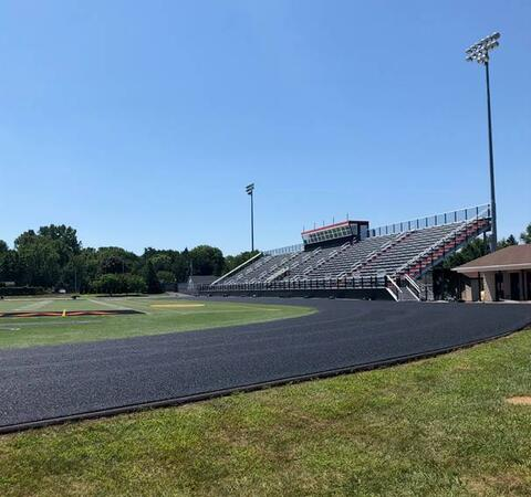 The new stadium bleachers are now complete and the track surface is being placed. It won't be long before events can take place!