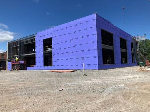 Exterior sheathing is near completion for the classroom addition. Tune in next week for a peek at the interior!
