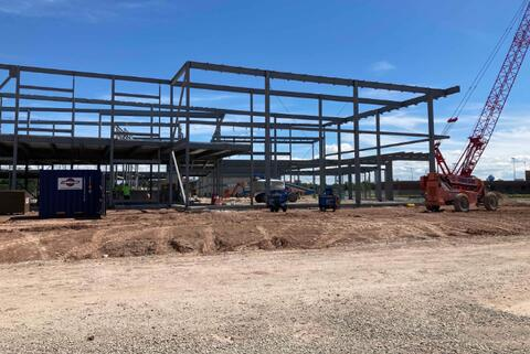 The structural steel for the library and main entrance and canopy off of 9th street is complete.