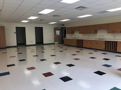 The art room now has fully installed casework and fixtures. Cord reels are now being completed.