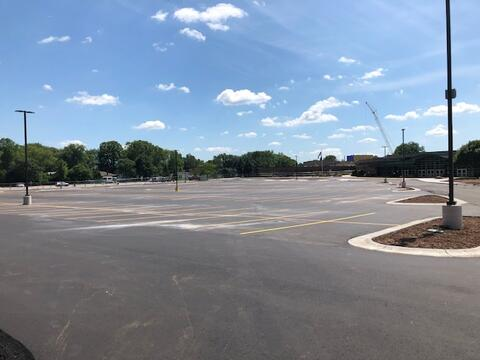The north parking lot paving and striping was completed this week.