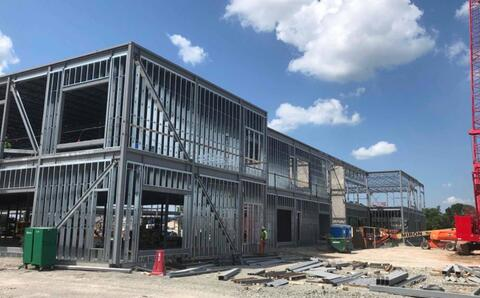 The steel studs on the second floor began this week.  The sheathing that attaches to these studs to enclose the building will begin in the next few weeks.