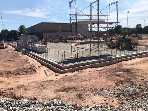 Foundations and masonry continue to progress for the indoor practice facility addition.
