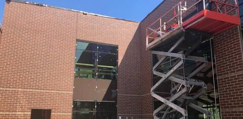 The face brick in the new courtyard is in place.