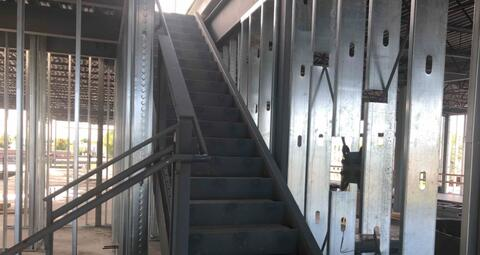 The stairs up to the mechanical penthouse above area A have been installed.