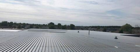 The metal deck has been installed above area A and most of area B.  Next week, the roof system installation will begin.