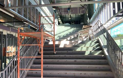 The main stairway in the new addition has been installed.