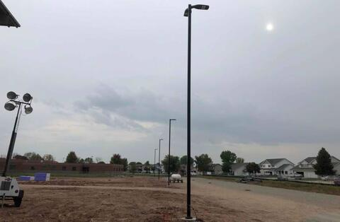 A majority of the light poles have been installed throughout the jobsite.