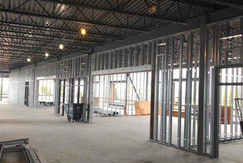 The steel stud framing is continuing up on the second floor.  Shown in this picture are the classrooms on the west side of the school facing 9th street.