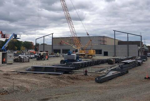 This is a view of the new indoor field from Grant Street.