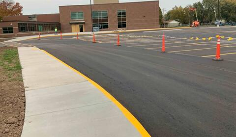Lines have been painted on the new back parking lot.