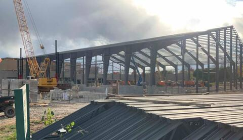 The steel for the new athletic field is continuing to progress.