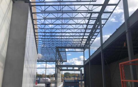 The steel above the athletic entrance has been installed and is ready for metal deck.
