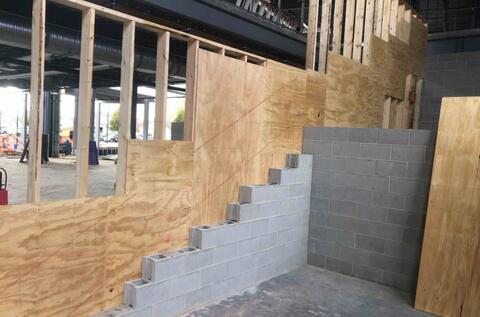 The forming process for the learning stairs has begun.  The side being worked on in this picture is the seating portion of the learning stairs.
