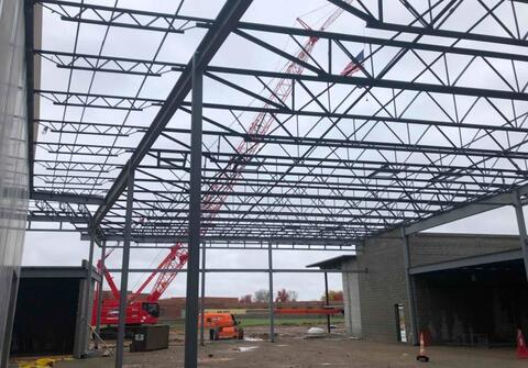 The structural steel above the cafeteria is complete.  All the structural steel columns and beams for the entire school are now standing.