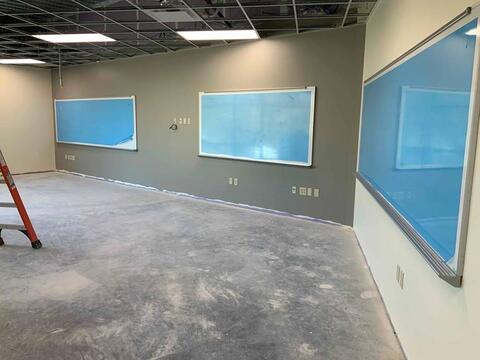Painting is complete on the second floor of the new classroom addition. Next up is ceiling tile and flooring.