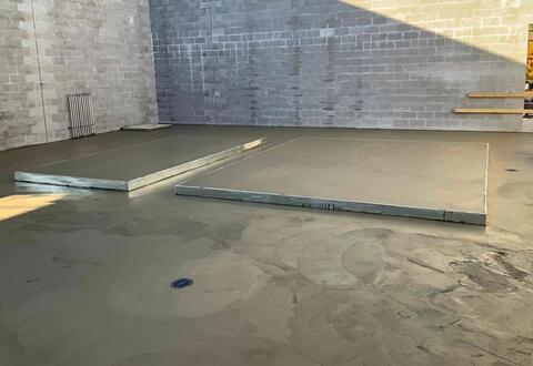 Crews poured the concrete floor for the mechanical mezzanine in the athletic facility addition. Some of the mechanical equipment will be placed next week.