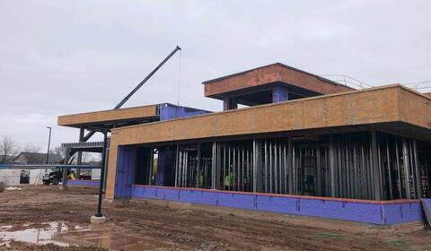 The front of the building is starting to take shape.  Pictured here is are the administrative offices near the main entrance.