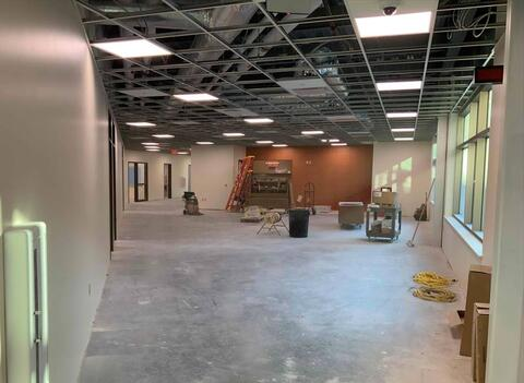 More wall tile and fire extinguishers were installed on first floor of the classroom addition. Flooring and ceiling tile will start in the next week.
