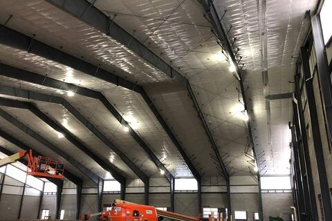 Here is a look at the interior of the athletic facility. Painting of the metal structure will soon begin, which will allow for the mechanical trades to start installing ductwork, lights, and sprinklers.