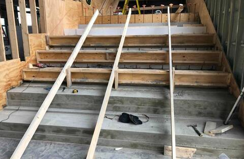 The bottom two steps of the learning stairs have been poured.  These stairs will be poured two at a time as the team works their way up to the top.