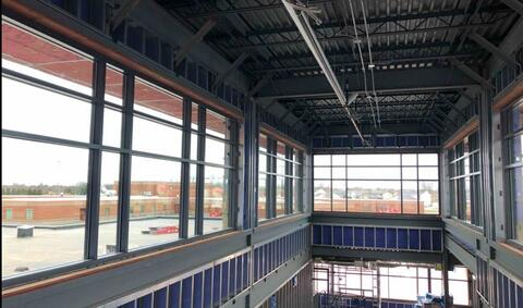 The windows around the main entrance corridor have been installed.